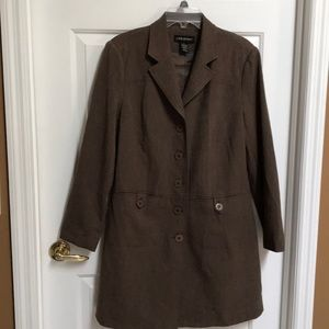 Lane Bryant brown long lined stylish coat size 14